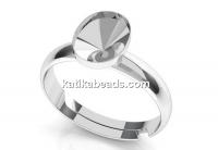 Ring base, 925 silver, adjustable, 4122 fancy rivoli 8x6mm - x1