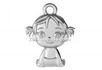 Pendant girl, 925 silver, 16mm  - x1