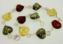 Bracelet, multicoloured amber in 925 silver, hearts