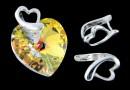 Pendant bail, heart, 925 silver, 9.5x6.5mm - x1
