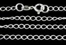 Chain, 925 silver, big jump rings, 60cm - x1