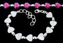 Bracelet base, 9 Link, 925 silver, heart, cabochon 10mm - x1