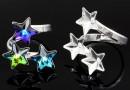 Ring base, 925 silver, 3 stars Swarovski 10-10-10mm - x1