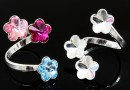 Ring base, 925 silver, 3 Swarovski flowers 10-10-10mm - x1