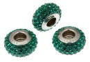 Swarovski, becharmed pavé, dark emerald green, 13.5mm - x1