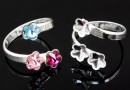 Ring base, 925 silver, 3 Swarovski flowers 6-6-6mm - x1