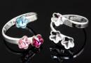 Ring base, 925 silver, 3 Swarovski flowers 6-6-6mm - x1