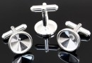 Cufflink base, 925 silver, for rivoli 12mm - x1 pair
