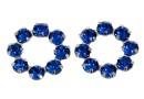 Swarovski, rhodium-plated flower, capri blue, 10mm - x1