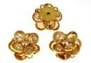 Swarovski, rhodium-plated pendant, multistone cabochon,  golden shadow  - x1