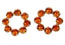 Swarovski, rhodium-plated flower, tangerine, 10mm - x1