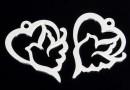 Pendant, heart, dove 925 silver, 18mm  - x1