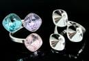 Ring base, rhombus, bordered, 925 silver, for 3 Swarovski 4470 10mm - x1