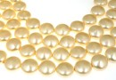 Swarovski disk pearls, light gold, 12mm - x4