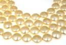 Swarovski disk pearls, light gold, 12mm - x4