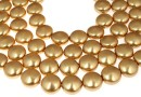 Swarovski disk pearls, bright gold, 12mm - x4
