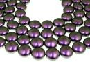 Swarovski disk pearls, iridescent purple, 16mm - x2