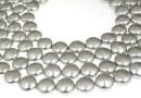 Swarovski disk pearls, light grey pearl, 16mm - x2