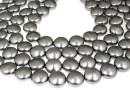 Swarovski disk pearls, grey pearl, 12mm - x4