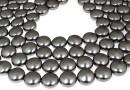 Swarovski disk pearls, dark grey pearl, 12mm - x4
