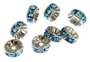 Swarovski, spacer, rhodium-plated, aquamarine, 6mm - x2