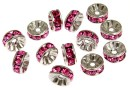 Swarovski, spacer, rhodium-plated, rose, 6mm - x2