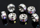 Swarovski, spacer, rhodium-plated, aurora borealis, 8mm - x2