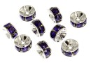 Swarovski, spacer, rhodium-plated, purple velvet, 6mm - x2