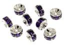 Swarovski, spacer, rhodium-plated, purple velvet, 6mm - x2