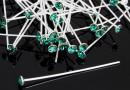 Headpin, Swarovski crystal, emerald, 925 silver, 40mm - x1