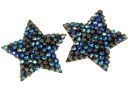 Swarovski, fine rocks pendant, black bermuda blue, 22mm - x1
