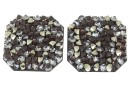 Swarovski, fine rocks pendant, black peach gold, 22mm - x1