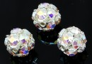 Swarovski, montees, silver-plated disco ball, aurora borealis, 8mm - x1