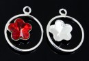 Pendant base, 925 silver, for Swarovski flower fancy 10mm, stg - x1