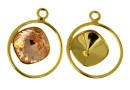 Pendant base, gold-plated 925 silver, square Swarovski 10mm, stg- x1
