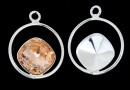 Pendant base, 925 silver, for Swarovski square 10mm, jos- x1