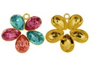 Pendant base, gold-plated 925 silver, for 5 Swarovski 4320 10x7mm - x1