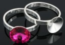 Ring base, 925 silver, rivoli 10mm, inside 17.5mm - x1