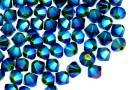 Swarovski, beads bicone, dark moss green AB2x, 4mm - x20