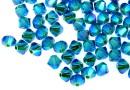 Swarovski, beads bicone, blue zircon AB2x, 4mm - x20