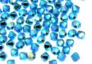 Swarovski, bicone bead, turquoise aurore boreale 2X, 4mm - x20