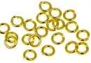 Hard jump rings, open, gold-plated 925 silver, 4x0.9mm - x5
