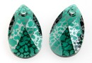 Swarovski, drop pendant, emerald silver patina, 16mm - x1