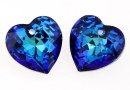 Swarovski, heart pendant, bermuda blue, 8mm - x2
