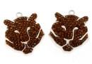 Swarovski, pave pendant rhodium-plated, tiger, smoked topaz, 19x16mm - x1