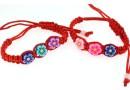 Bratara martisor pentru copii cu flori multicolore din fimo - x3