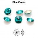 Preciosa rivoli, blue zircon, 10mm - x2