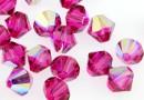 Preciosa, bicone bead, fuchsia AB, 4mm - x40